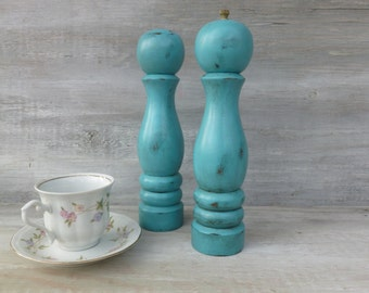 Wooden Salt Shaker and Pepper Grinder Painted Turquoise