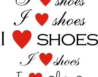 I love shoes (with heart) text clipart graphic