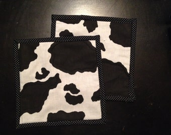Milk Cow Print Country Pot Holders, Machine Quilted
