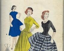 ON SALE 1950s Butterick 7450 Teenage Rockabilly Dress Pattern, Longer Line Torso, Size 32 Bust