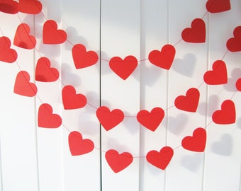 Red Heart Garland - 10 ft Long - Valentine Decor,Red Heart Garland, Valentine Garland, Paper Garland, Wedding Decoration, Bridal shower,
