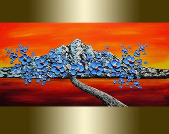 Oil painting Contemporary blue flower Blooming Tree Acrylic painting Mixed Heavy Palette Knife