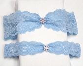 Blue lace garter set, wedding garter set, Something blue garter, blue garter set, garter set
