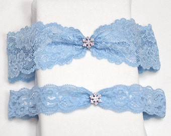 Blue lace garter set, wedding garter set, Something blue garter, blue garter set, garter set