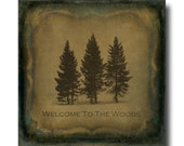 Welcome Sign Art,  Canvas Wall Art, Farmhouse Decor, Rustic Country Chic, Square Typography Sign - Welcome To The Woods