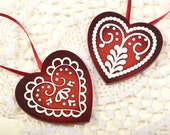 Mintapalinta POP Christmas tree ornaments: Dark Red Hearts, Pinewood, Snowflake, Unique Designed Christmas Ornaments