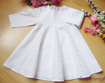Short christening gown hole embroidery, 100% cotton,varioussizes
