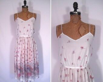 1970s sheer white sundress • 70s floral print dress • vintage sentimental journey dress