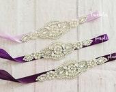 Bridal Sash..Purple Flower Sash / Belt -Flower Girl Sash..Purple Bridal Belt/ Purple Sash..Maternity Sash / Wedding Sash