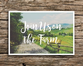 On the Farm Save the Date Postcard // Farm Wedding Save the Dates Midwest Wedding Ohio Illinois Wisconsin Country Wedding Vintage Boho