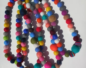Felted wool necklace. For girls and woman. Multicolor