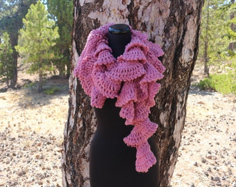 Ruffle Crochet Scarf Easy PATTERN, Chunky Crochet Scarf, DIY Gift For Her, Unique Scarf Instant Download PDF Pattern No.197 Lyubava Crochet