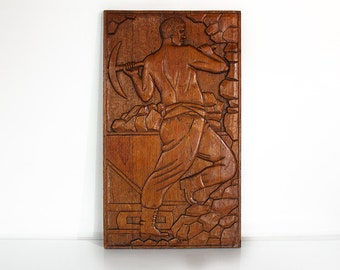 WPA Carved Wood Relief, circa 1935