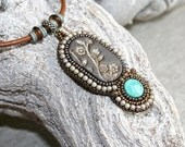 Bead embroidered necklace - Statement necklace - Boho necklace - Turquoise necklace