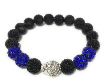 NEW Silver Rhinestone Skull Men's Bracelet Blue Black Beaded Unisex Hip Hop