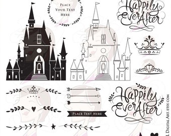 Fairytale Wedding DIY Invites Bridal Shower Castle Happily Ever After Crowns Arrows Wreath Frame Silhouette Clip Art Commercial Use 10159