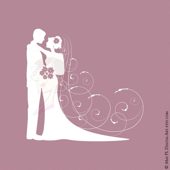 Wedding Invitation Elegant White Silhouette DIY Save The
