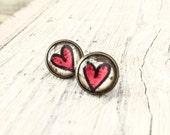 Heart Stud Earrings, Cabochon Earrings, Tiny Stud Earrings, Bohemian Gypsy Earrings, E137