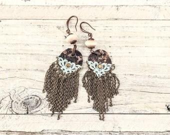 Gypsy Chain Earrings, Bohemian Earrings, Hippie Earrings, Rustic Earrings, Boho Earrings, Gypsy Jewelry, E 020