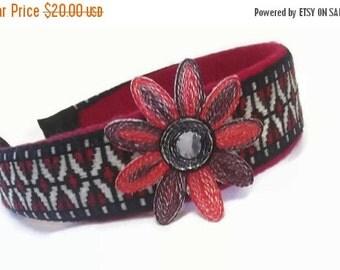 FALL SALE, Red & Black Fabric Headband - Flower Hair Accessory - Boho Hair Accent - Spring Headband