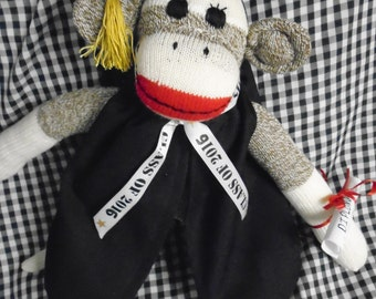 Graduation Sock Monkey Doll In Cap And Gown