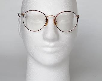 GIORGIO ARMANI Big Over Sized Round Eyeglass Frames • Vintage 80s Large Oversized Men's Matte Gold & Tortoise Eyeglass Frames