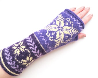 Wool fingerless gloves,womens wrist warmers,merino wool gloves,autumn fashion accessories,purple fingerless mittens,Christmas gift for Her