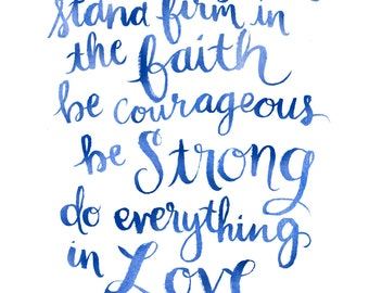 Do Everything in Love - Blue Hand Lettered Print