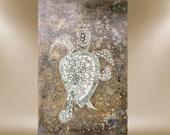 original seaturtle turtle painting greens ocean 24X36 FREE SHIP