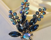 RESERVED for fmartin3780 Vintage Blue Aurora Borealis and Rhinestones Floral Brooch - Amazing