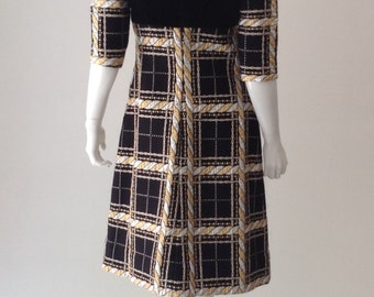 60s Velvet and Brocade Lurex Dress