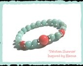 Tahitian Sunrise-Amazonite and Coral Mountain Jade bracelet
