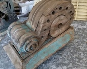 Large Chunky Scrolling wood CORBEL, Victorian salvage Decor.Green Chippy Paint, Architectural restoration Wood