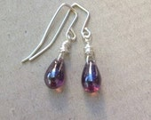 Silver small earring with purple drop bead