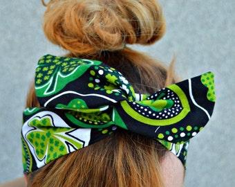 Headband, St Patricks day,Green Dolly bow headband , green headband , Green Head wrap