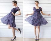 Vintage blue purple pink floral print above the knee length short sleeve day dress XS S