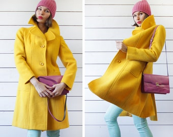 Vintage bright yellow heavy wool single breasted oversized collar warm winter women coat XS-S