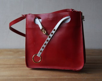 TOSCA BLU vintage red white leather small box shoulder purse bag