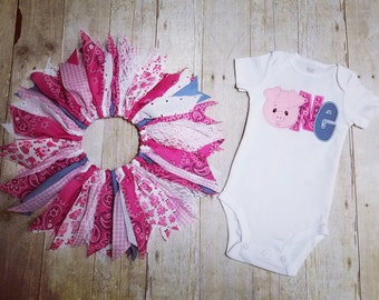 Made to Order - Pig Applique One Shirt with Scrap Tutu - Magenta Bandana, Gingham, Denim, Lace - Piggy 1st Birthday Outfit