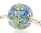 "Big Lampwork glass bead European Charm Focal bead ""Japanese Garden"" Sterling silver core big hole 84 By Shirley"