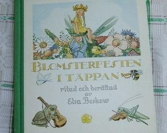 Vintage Swedish Childrens book by Elsa Beskow - Flower festival in the plot