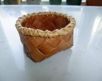 Vintage Swedish breaded birch bark basket with root edge