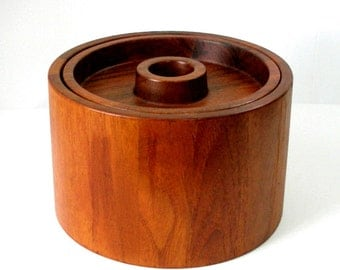Vintage Dansk Designs Danish Teak Staved Ice Bucket IHQ Cylinder w Inset Lid Cover 6x9 Black Liner  Mid Century Made In Denmark Ex Cond