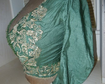 Vintage green Italian silk blouse bodice jacket cream hand embroidered hand finished lace trim c1890