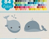 70% Sale Whale Clip Art, Rainbow Baby Whale Clipart, Colorful Whale Vector Graphics, Huge Clipart Pack - Instant Download