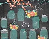 70% Sale Mason Jars and Flowers clipart, Wedding clipart, Chalkboard clip art, scrapbook, invitation making, mason jar, ball jars- INSTANT D