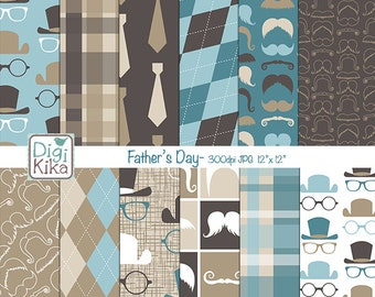 Father's Day Digital Papers, Gentleman Scrapbook Paper - Father's Day Papers - Mustaches Background - Male Patterns - INSTANT DOWNLOAD