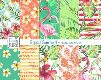 Tropical Summer II Digital Papers, Summer Scrapbook Paper - Summer Papers - Flamingos Background - INSTANT D