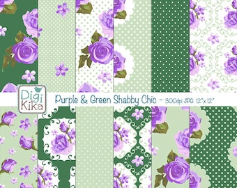 SALE Purple and Green Shabby Chic Digital Papers, Shabby Chic Scrapbook Papers - design, invitations, paper craft - INSTANT DOWNLOAD