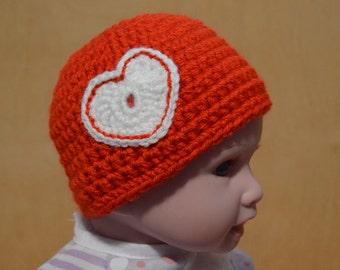 Valentine's Day, Red Newborn Hat, Crocheted Baby Hat